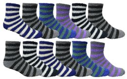 36 Units of Yacht & Smith Men's Warm Cozy Fuzzy Socks, Stripe Pattern Size 10-13 - Men's Fuzzy Socks