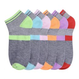 216 Units of Girls Printed Casual Spandex Ankle Socks Size 6-8 - Girls Ankle Sock