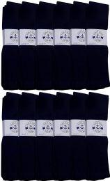 36 Units of Yacht & Smith Men's Navy Cotton Terry Athletic Tube Socks, Size 10-13 - Mens Tube Sock