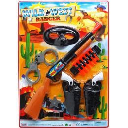 """12 Units of 18"""" SOFT DART TOY WILD WEST COWBOY SET ON BLISTER CARD - Toy Sets"""