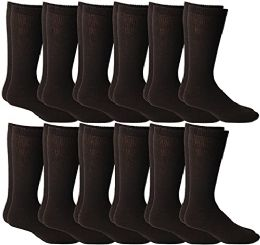 12 Units of Yacht & Smith Men's Cotton Diabetic Non-Binding Crew Socks - King Size 13-16 Brown - Big And Tall Mens Diabetic Socks