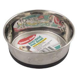 24 Units of Pet Bowl Stainless Steel 28 Oz AntI-Skid Paw/print Embossed - Pet Supplies
