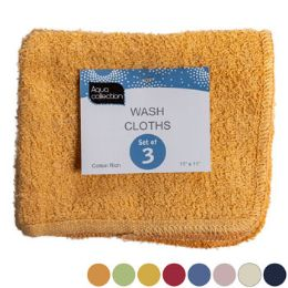 72 Units of Wash Cloths 3pk 11x11 Assorted Colors Peggable See n2 - Kitchen Linens