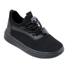 12 Units of Boy's Sneakers Casual Sports Shoes in Black - Boys Sneakers