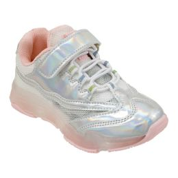 12 Units of Girls Sneaker in Silver and Blush - Girls Sneakers
