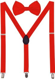 24 Units of Red Suspenders And Bow Tie Set - Suspenders