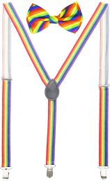 24 Units of Rainbow Suspenders And Bow Tie Set - Suspenders