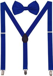 24 Units of Royal Blue Suspenders And Bow Tie Set - Suspenders