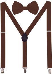 24 Units of Dark Brown Suspenders And Bow Tie Set - Suspenders
