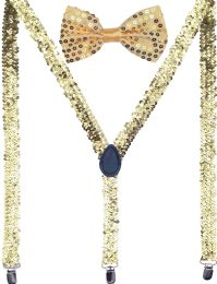 24 Units of Gold Sequin Suspenders And Bow Tie Set - Suspenders
