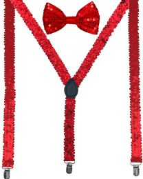 24 Units of Red Sequin Suspenders And Bow Tie Set - Suspenders