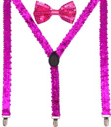 24 Units of Pink Sequin Suspenders And Bow Tie Set - Suspenders