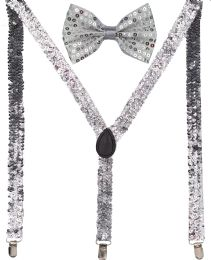 24 Units of Silver Sequin Suspenders And Bow Tie Set - Suspenders
