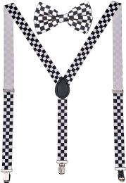 24 Units of White Checkered Suspenders And Bow Tie Set - Suspenders