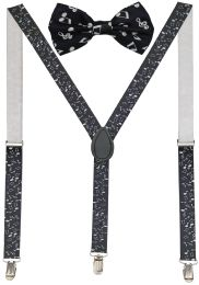 24 Units of Musical Suspenders And Bow Tie Set - Suspenders