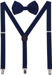 24 Units of Navy Blue Suspenders And Bow Tie Set - Suspenders
