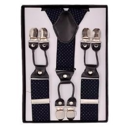 24 Units of Royal Blue With White Polka Dot Suspenders - Suspenders
