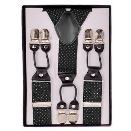 24 Units of Black With White Polka Dot Suspenders - Suspenders