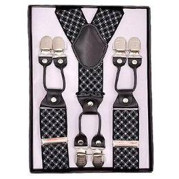 24 Units of Black With White Stripe Suspenders - Suspenders