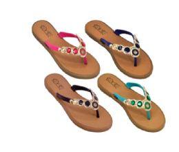48 Units of Women Fashion Flip Flops Assorted Colors - Women's Flip Flops