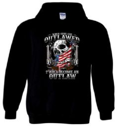 6 Units of Outlawed I will Become An Outlaw Black Hoody PLUS size - Mens Sweat Shirt