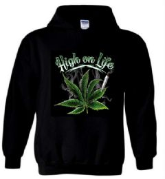 6 Units of High On Life Black Black color Hoody PLUS size - Mens Sweat Shirt