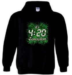 12 Units of Black Hoody T-shirt 4:20 - Mens Sweat Shirt