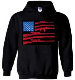 6 Units of Black Color Hoody GUN FLAG Plus Size - Mens Sweat Shirt