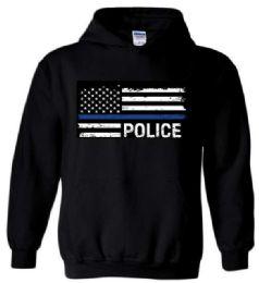 6 Units of Black Hoody Blue Line Police PLUS Size - Mens Sweat Shirt