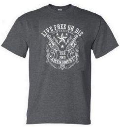 12 Units of Dark Gray Tshirt 2ND AMENDMENT 1776 With Crest - Mens T-Shirts