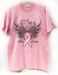 24 Units of Pink T Shirt Pink Ribbon With Wings Assorted Sizes - Women's T-Shirts
