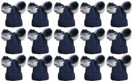 120 Units of Double Pom Pom Ribbed Winter Beanie Hat, Multi Color Pom Pom Solid Navy - Winter Beanie Hats