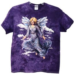 12 Units of Purple Tie Dye Shirt with Angel Assorted Sizes - Mens T-Shirts