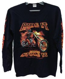 12 Units of Long Sleeve Skull Flame Rider Assorted Sizes - Mens T-Shirts
