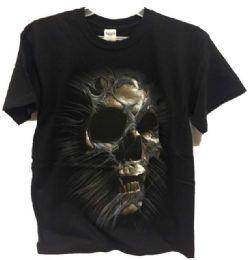 24 Units of Black T Shirt with Skull - Mens T-Shirts