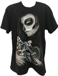 24 Units of Black T Shirt Skull Rider with Girl Assorted Plus Sizes - Mens T-Shirts