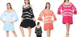 12 Units of Cold Shoulder Tie Dye Rayon Dresses Assorted - Womens Sundresses & Fashion