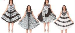 12 Units of Black and Whiten Tie Dye Rayon Umbrella Dress - Womens Sundresses & Fashion