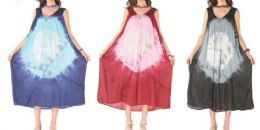 12 Units of Brush Tie Dye Rayon Long Gown Assorted - Womens Sundresses & Fashion