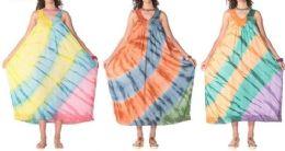 12 Units of Long Rayon Brush Tie Dye Maxi Dresses - Womens Sundresses & Fashion