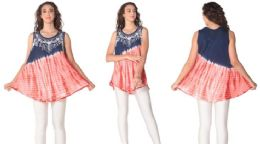 12 Units of Red White Blue Americano Colors Rayon Tie Dye Tops - Womens Sundresses & Fashion