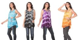 12 Units of Tie Dye Rayon Tops Assorted - Womens Sundresses & Fashion