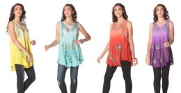 12 Units of Tie Dye Rayon Tops With Peacock Feather Prints - Womens Fashion Tops