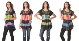 12 Units of Acidwash Tie Dye Short Sleeve Rayon Tops - Womens Fashion Tops