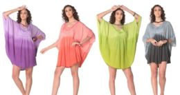 12 Units of Ombre Tie Dye Rayon Cape Poncho - Womens Fashion Tops