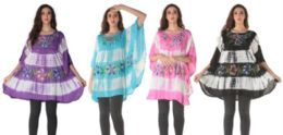 12 Units of Tie Dye Rayon Floral Painted Poncho Tops - Womens Fashion Tops