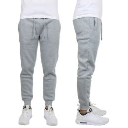 24 Units of Men's Heavy Weight Joggers In Heather Grey Assorted Sizes - Mens Sweatpants