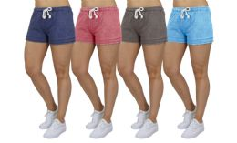 72 Units of Women's Soft Fleece Lounge Shorts Assorted Sizes In Light Blue - Womens Shorts