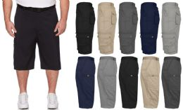 36 Units of Men's Belted Cotton Cargo Pocket Shorts Extended Sizes 44-50 In Black - Mens Shorts