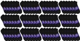72 Units of Yacht & Smith Mens Cotton Black No Show Ankle Socks, Sock Size 10-13 - Mens Ankle Sock